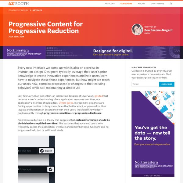 Progressive Content for Progressive Reduction   UX Booth
