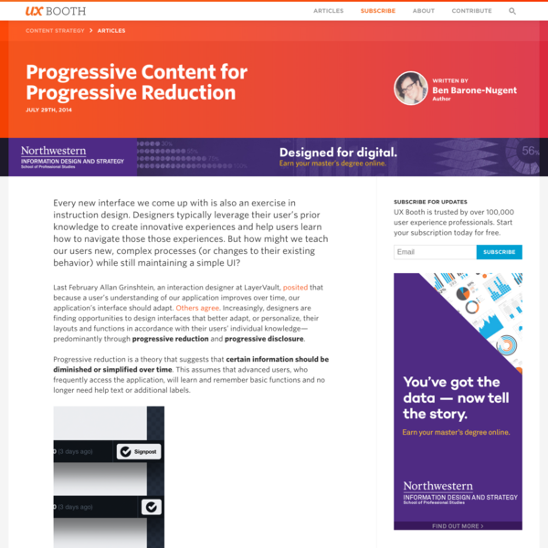 Progressive Content for Progressive Reduction | UX Booth