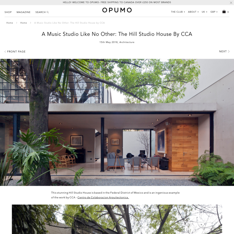 JavaScript seems to be disabled in your browser. For the best experience on our site, be sure to turn on Javascript in your browser. Welcome to OPUMO! Free US shipping over $150 on most brands This stunning Hill Studio House is based in the Federal District of Mexico and is an ingenious example of the work by CCA - Centro de Colaboracion Arquitectonica.