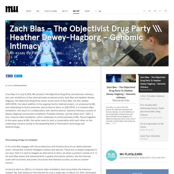 Zach Blas - The Objectivist Drug Party \\\ Heather Dewey-Hagborg - Genomic Intimacy