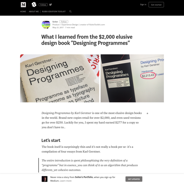 "What I learned from the $2,000 elusive design book ""Designing Programmes"""