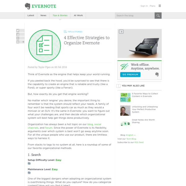 Think of Evernote as the engine that helps keep your world running. If you peeled back the hood, you'd be surprised to see that there is the capability to create an engine that is reliable and trusty (like a Ford), or super sporty (like a Ferrari).