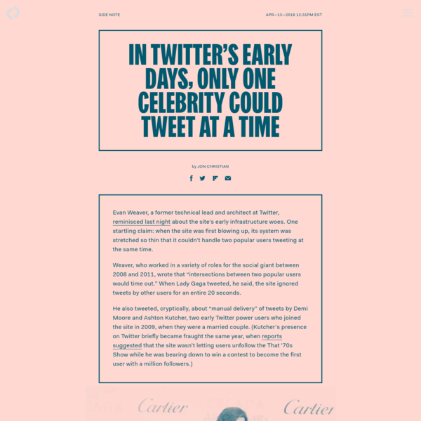 In Twitter's early days, only one celebrity could tweet at a time