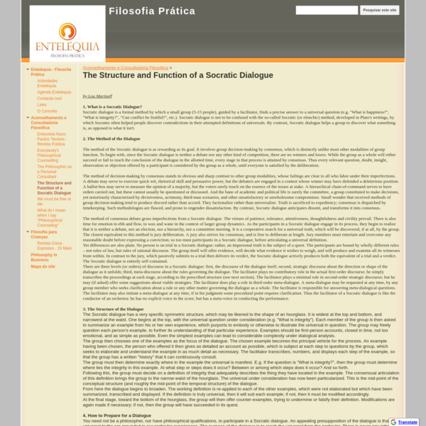 The Structure and Function of a Socratic Dialogue - Filosofia Prática
