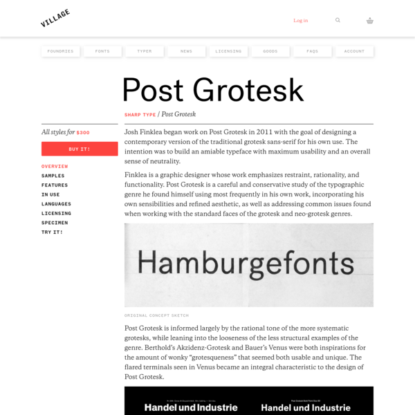 Finklea is a graphic designer whose work emphasizes restraint, rationality, and functionality. Post Grotesk is a careful and conservative study of the typographic genre he found himself using most frequently in his own work, incorporating his own sensibilities and refined aesthetic, as well as addressing common issues found when working with the standard faces of the grotesk and neo-grotesk genres.