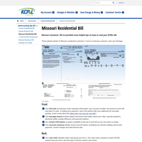 Your Missouri Residential Bill