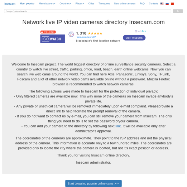 Insecam - World biggest online cameras directory