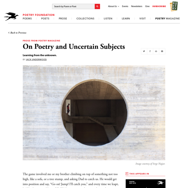 On Poetry and Uncertain Subjects by Jack Underwood