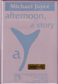 """Joyce, Michael, _afternoon, a story_ (Watertown: Eastgate Systems, 1987).  It """"is known as one of the first works of hypertext fiction.""""  https://en.wikipedia.org/wiki/Afternoon%2C_a_story"""