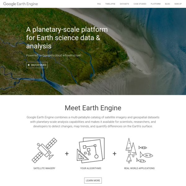 Google Earth Engine combines a multi-petabyte catalog of satellite imagery and geospatial datasets with planetary-scale analysis capabilities and makes it available for scientists, researchers, and developers to detect changes, map trends, and quantify differences on the Earth's surface.