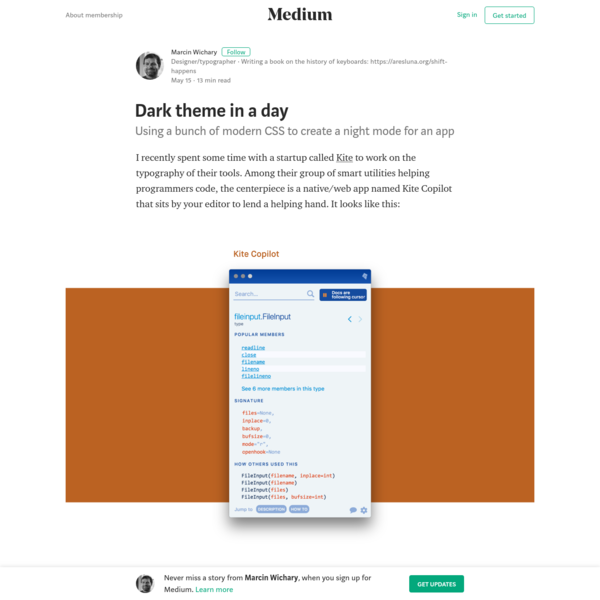 I recently spent some time with a startup called Kite to work on the typography of their tools. Among their group of smart utilities helping programmers code, the centerpiece is a native/web app named Kite Copilot that sits by your editor to lend a helping hand.