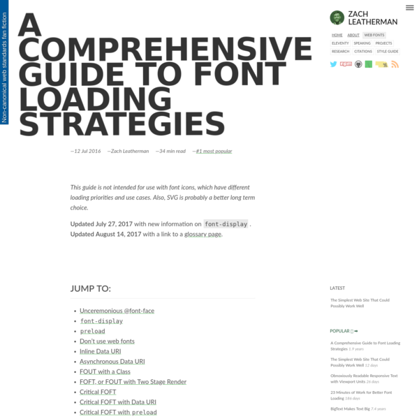 This guide is not intended for use with font icons, which have different loading priorities and use cases. Also, SVG is probably a better long term choice. Updated July 27, 2017 with new information on font-display. Updated August 14, 2017 with a link to a glossary page.