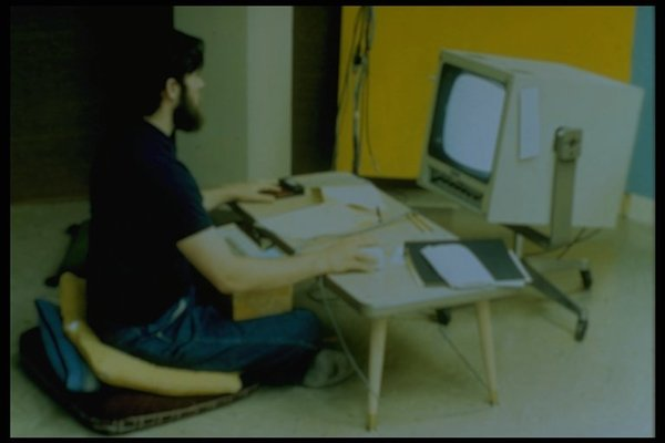 from experimental workplace set up at ARC lab.    [http://www.dougengelbart.org/history/pix.html](http://www.dougengelbart.org/history/pix.html)