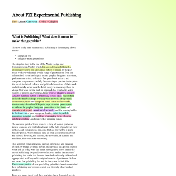 About PZI Experimental Publishing