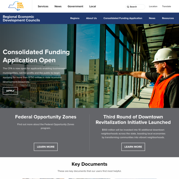 Learn about the various economic development taking place in New York State and find CFA funding through the Regional Economic Development Councils (REDC).