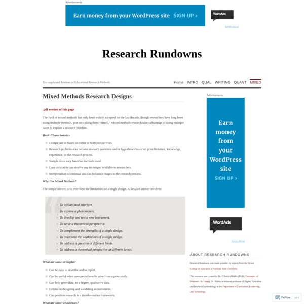 Mixed Methods Research Designs   Research Rundowns