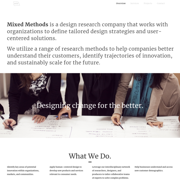 Mixed Methods   Innovation through design research