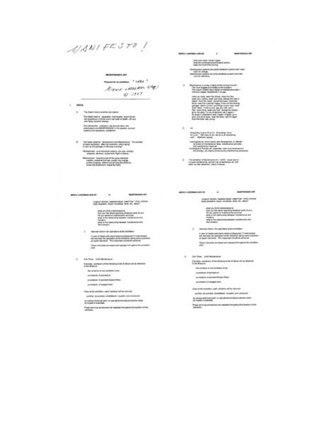 Ukeles, Maintenance Art Manifesto