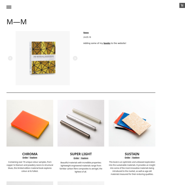 MAKE MATERIAL is an agency founded by Rob Thompson setup to translate trends into tangible and meaningful materials for design. As well as material research and development, MAKE MATERIAL publishes materials sourcebooks available to buy online.