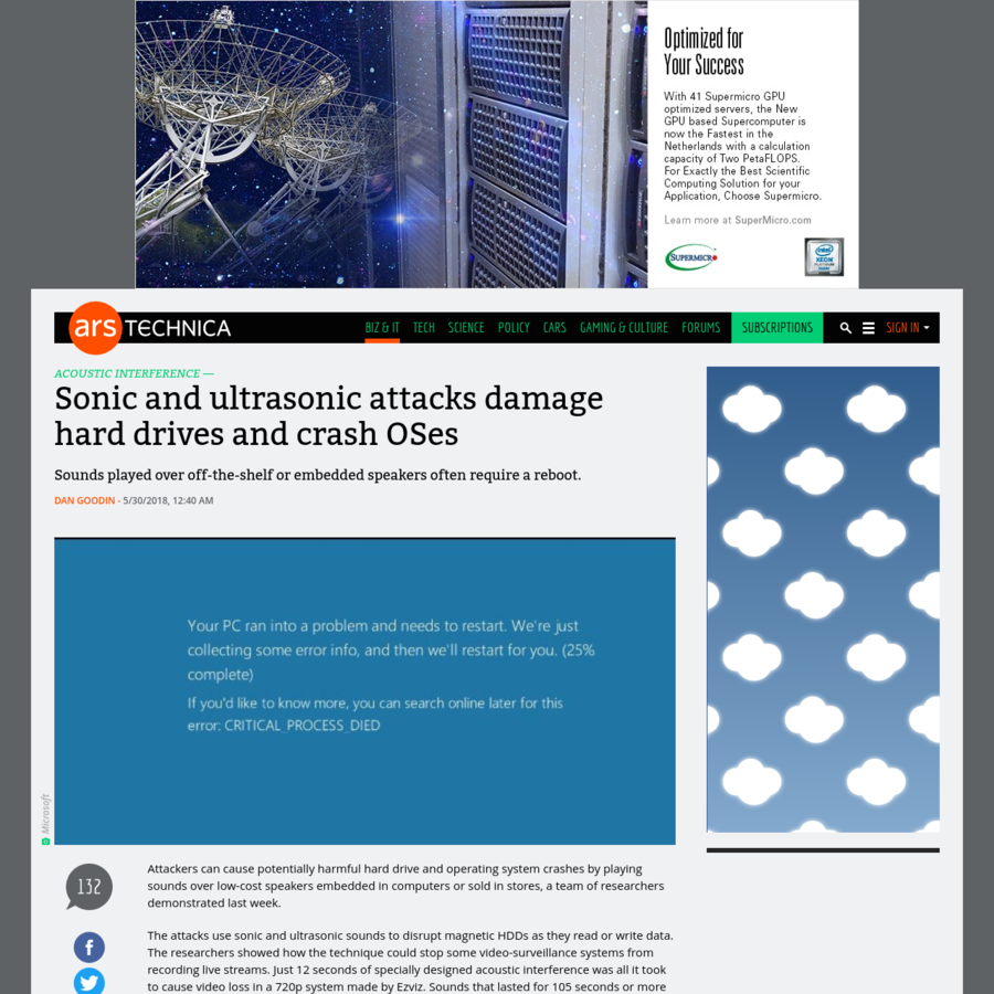 Attackers can cause potentially harmful hard drive and operating system crashes by playing sounds over low-cost speakers embedded in computers or sold in stores, a team of researchers demonstrated last week. The attacks use sonic and ultrasonic sounds to disrupt magnetic HDDs as they read or write data.