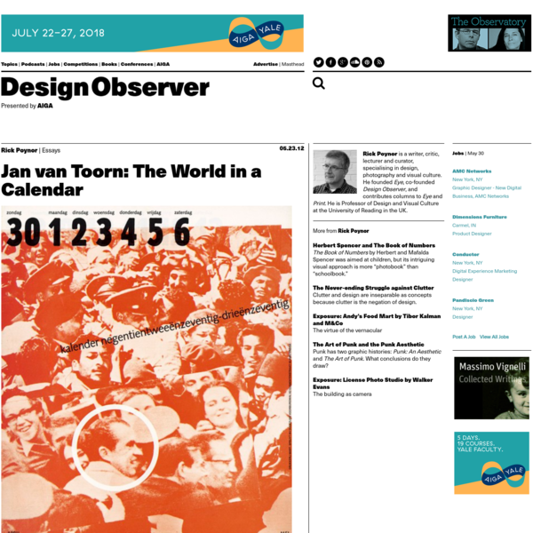 Jan van Toorn's calendar for 1972/73, designed for the Dutch printer Mart.Spruijt, is one of the most extraordinary and provocative graphic artifacts of its era. The calendar proposed a new form of engagement for the graphic designer as a mediator and manipulator of photographic meaning. The project still looks utterly remarkable 40 years later.