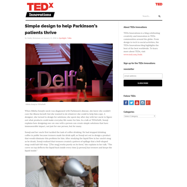 Simple design to help Parkinson's patients thrive | TEDx Innovations Blog