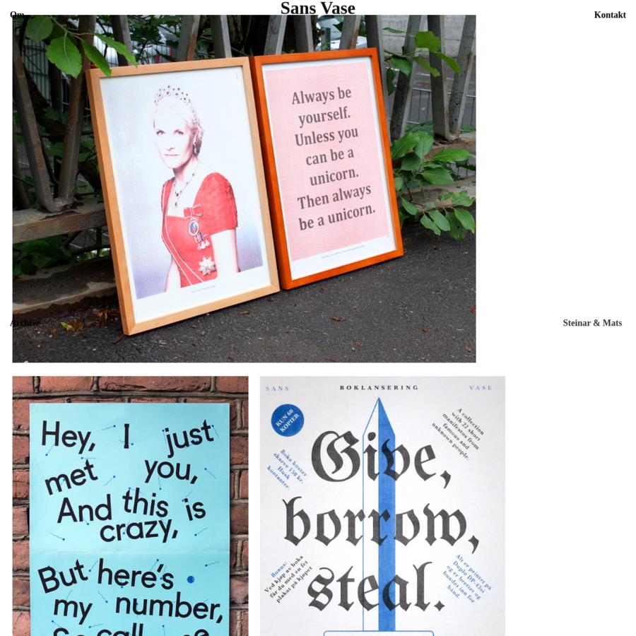 Om: Vi er et lite forlag som gir ut publikasjoner relatert til kunst, design og illustrasjon. Bøker, hefter, plakater etc. Vi trykker på en Duplo DP43si duplikator som gir et koselig og rufsete...