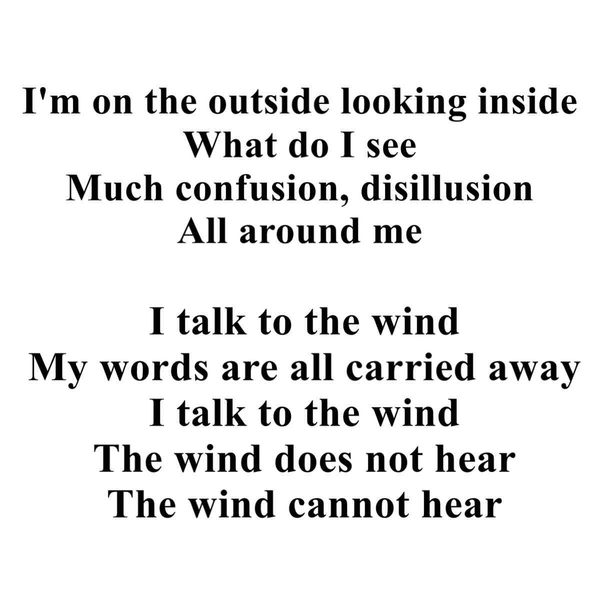 """Excerpt from """"I talk to the wind"""""""