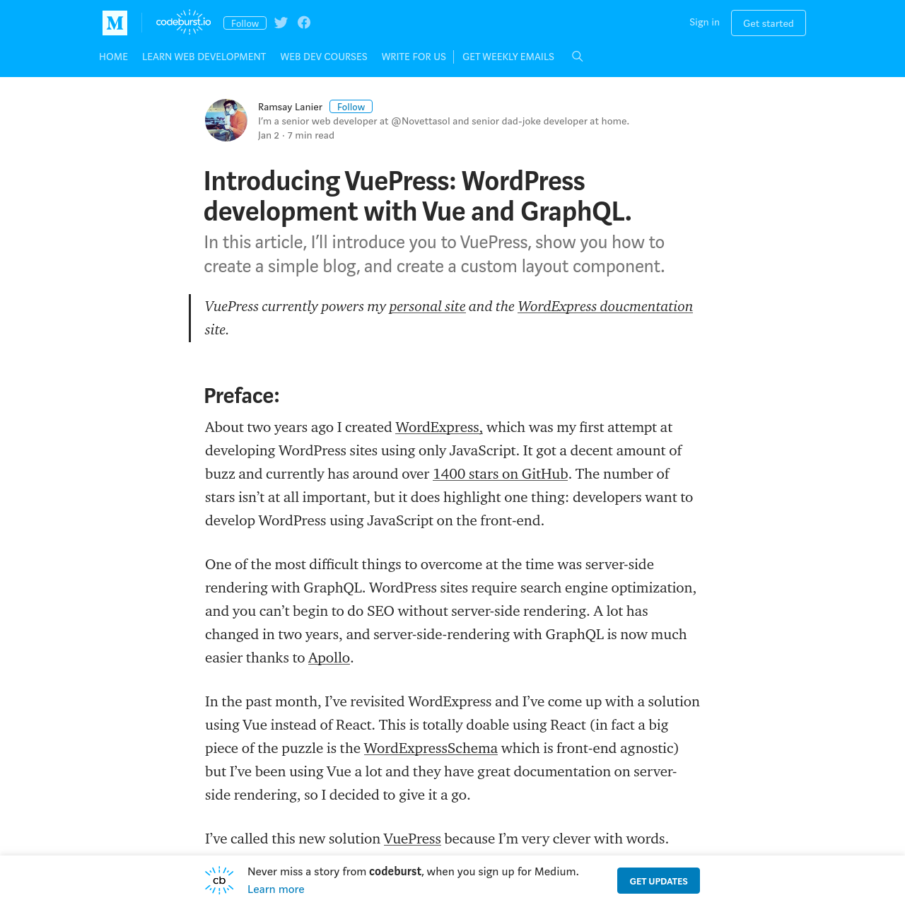 Are na / Introducing VuePress: WordPress development with