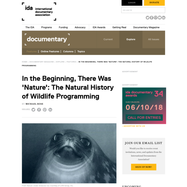 In the Beginning, There Was 'Nature': The Natural History of Wildlife Programming