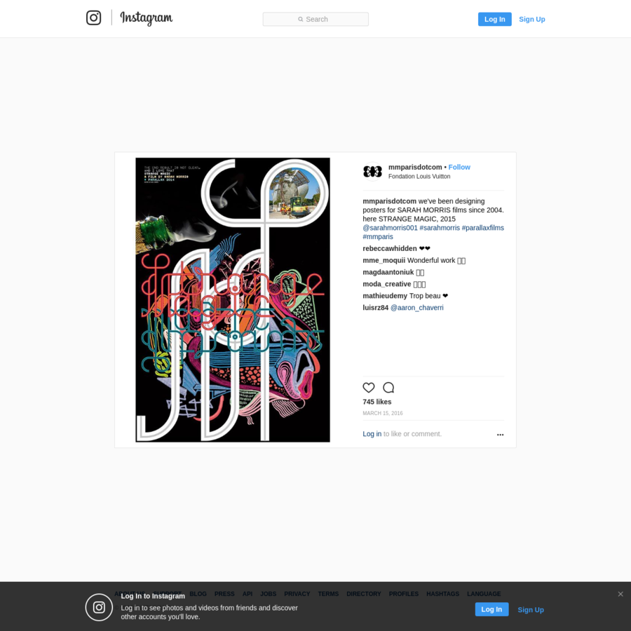 "745 Likes, 8 Comments - M/M (Paris) (@mmparisdotcom) on Instagram: ""we've been designing posters for SARAH MORRIS films since 2004. here STRANGE MAGIC, 2015..."""