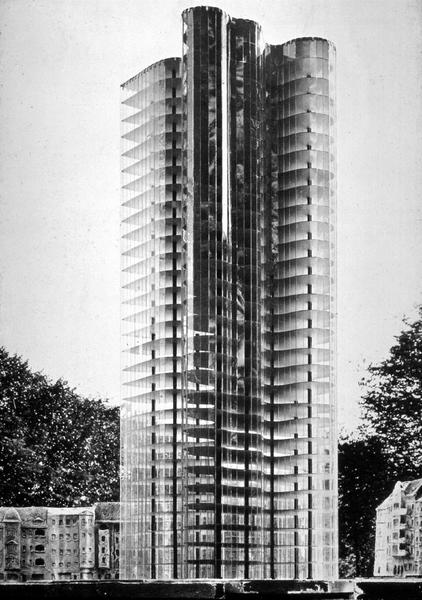 Project for glass skyscrapers, Mies van der Rohe, 1919-1922