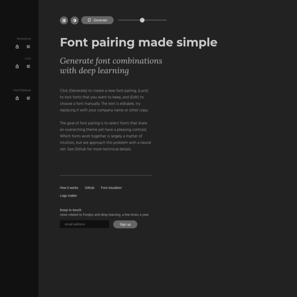 Fontjoy - Generate font pairings in one click