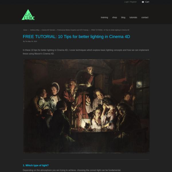 FREE TUTORIAL: 10 Tips for better lighting in Cinema 4D - helloluxx