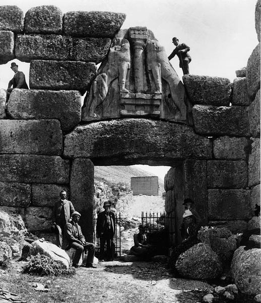 Schliemann at mycenae gate