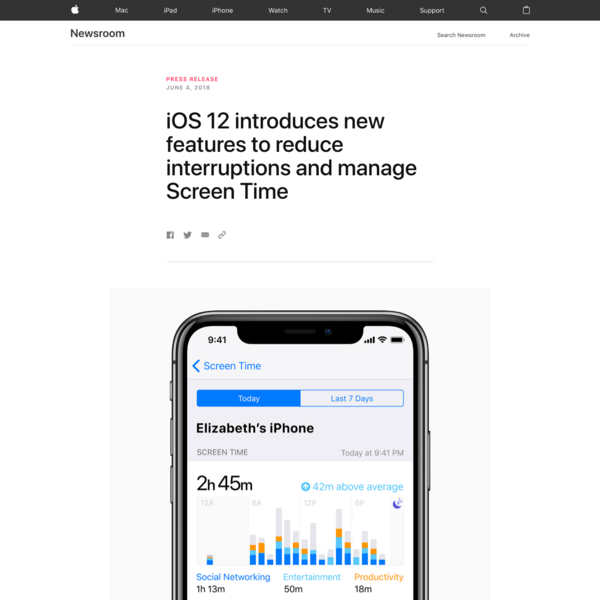 San Jose, California - Apple today announced new tools built into iOS 12 to help customers understand and take control of the time they spend interacting with their iOS devices.