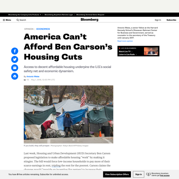 "Last week, Housing and Urban Development (HUD) Secretary Ben Carson proposed legislation to make affordable housing ""work"" by making it stingier. The bill would force low-income households to pay more of their scarce earnings in rent, tripling the rent for the poorest. Carson claims the changes would ""provide an incentive [for renters] to increase their earnings."""