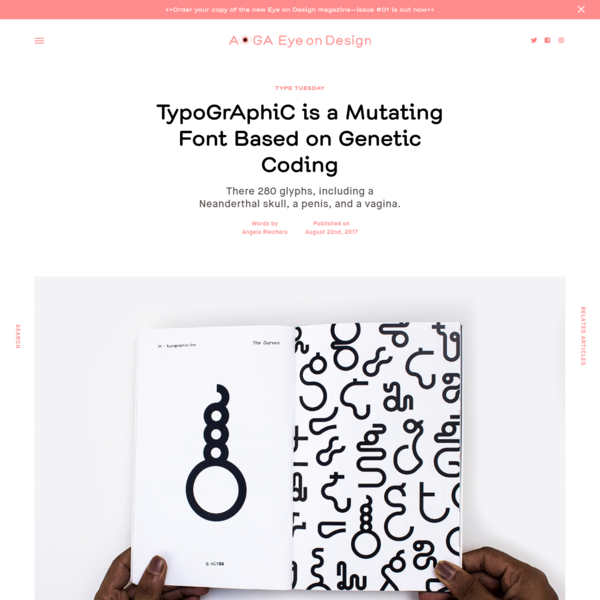 Name: TypoGrAphiC Designer: Dev Ethan Valladares Foundry: Self-published; available for free Release Date: June 2017 Back Story: Unlike most typefaces, TypoGrAphiC grew from an undergraduate assignment for a biology course. Mumbai-based graphic designer and typographer Valladares decided to start with the biggest