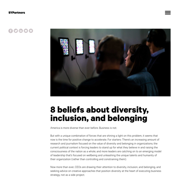 8 beliefs about diversity, inclusion, and belonging - SYPartners