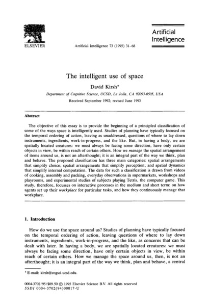 The Intelligent Use of Space by David Kirsh