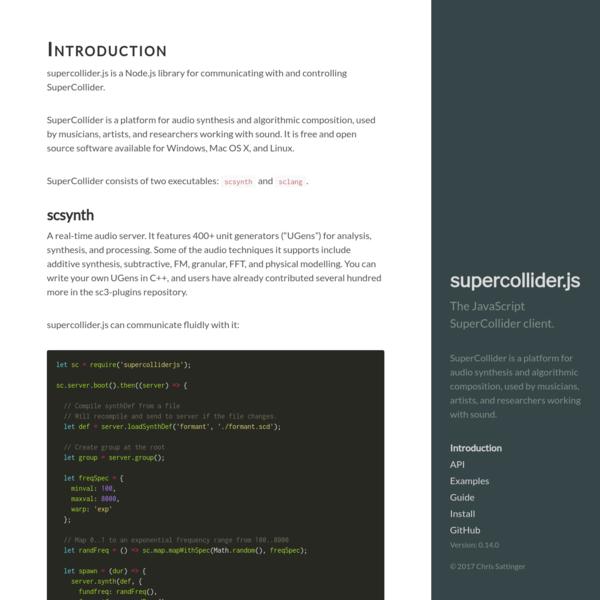 Introduction · supercollider.js
