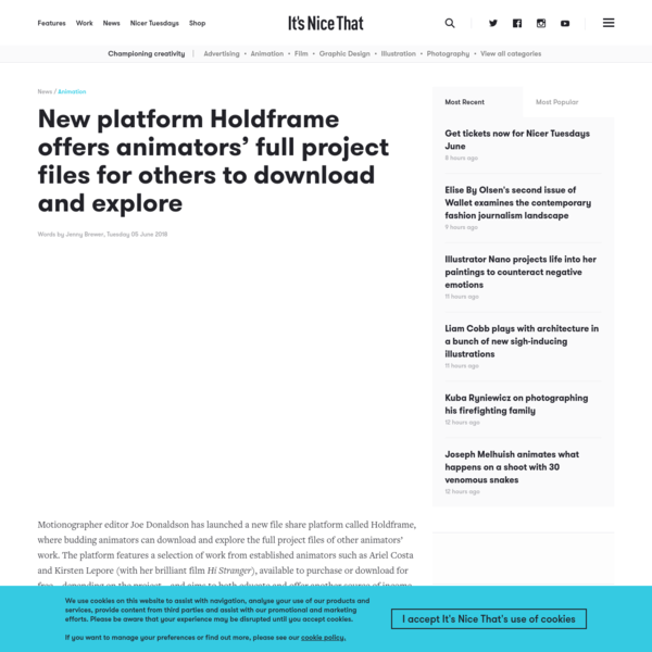 New platform Holdframe offers animators' full project files for others to download and explore