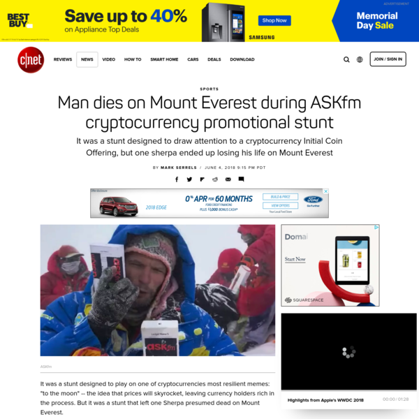 Man dies on Mount Everest during ASKfm cryptocurrency promotional stunt