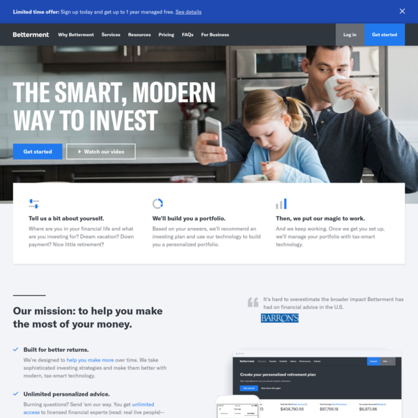 Betterment | The Smart, Modern Way to Invest | Online Financial Advisor