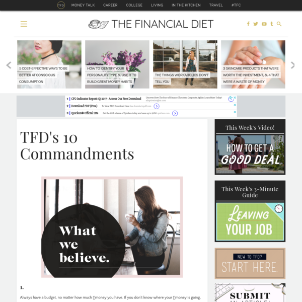 10 Commandments - The Financial Diet