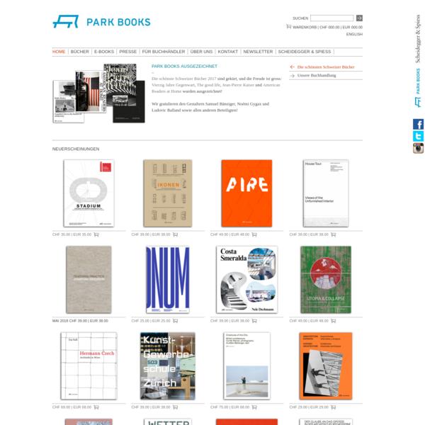 Park Books ist ein europäischer Verlag für Architektur und angrenzende Bereiche und versteht sich als internationale Plattform für Architekturbuchprojekte. Park Books wurde 2012 als Schwesterfirma des renommierten Kunst-, Fotografie- und Architekturverlags Scheidegger & Spiess in Zürich gegründet. Wie dieser richtet auch Park Books ein besonderes Augenmerk auf die sorgfältige Gestaltung und Materialisierung der Bücher.