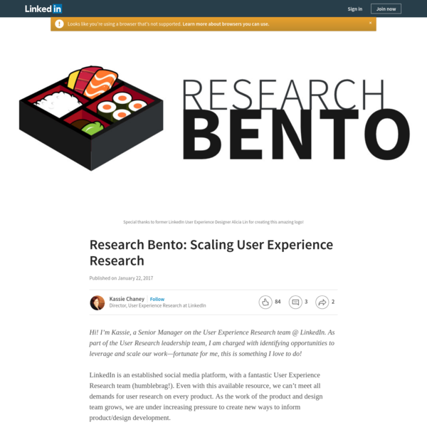 Research Bento: Scaling User Experience Research