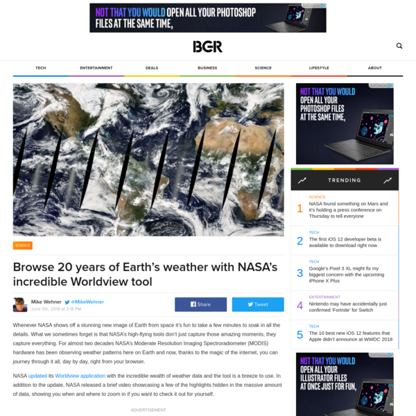 Browse 20 years of Earth's weather with NASA's incredible Worldview tool
