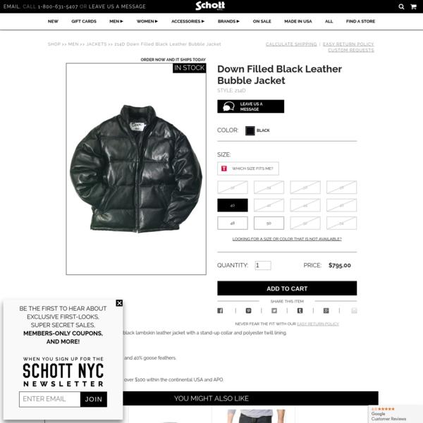 Down Filled Black Leather Bubble Jacket 214D