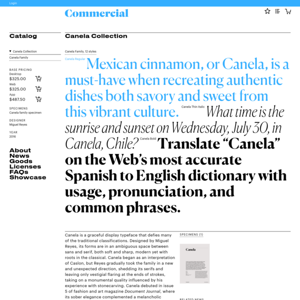 """Commercial Type """" Catalog """" Canela Collection"""